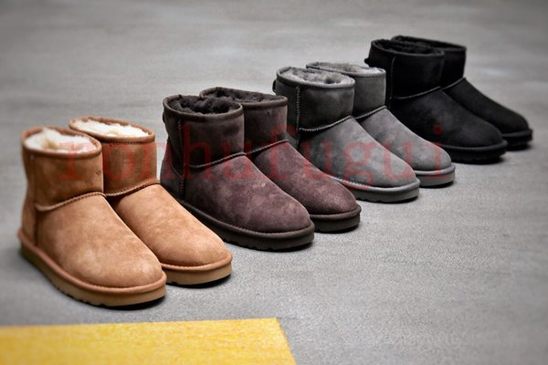 Klasik avustralya kış kar botlarıugguggsliskadınlar Mini II deri botlar WGG varış kısa yay çizme ayak bileği patik