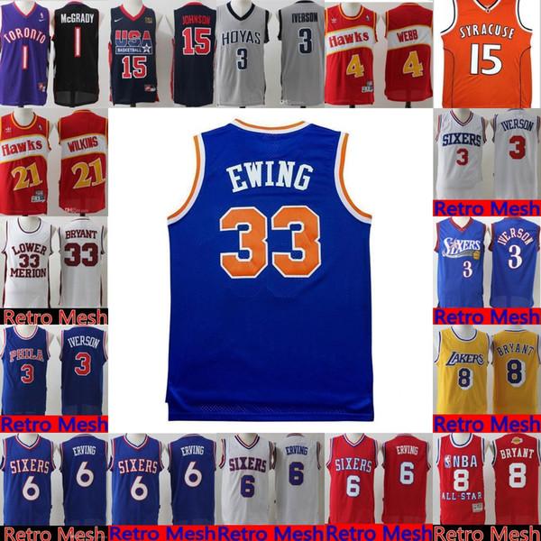 9a609ae26959 Philadelphia Retro Mesh 76ers Jersey Mens 6 julius   erving 3 Allen   Iverson  Basketball Jerseys