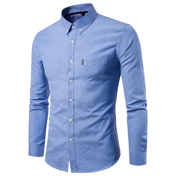 Mens Long Sleeve Dress Shirts Solid Color Korean Men Slim Tops Homme Single Breasted Casual Shirts