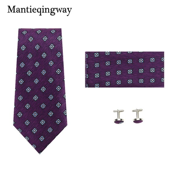 Mantieqingway  Men's Neck Tie Set Polyester Neckties Formal Suits Pocket Square Paisley Chest Towel Shirts Cufflinks Set