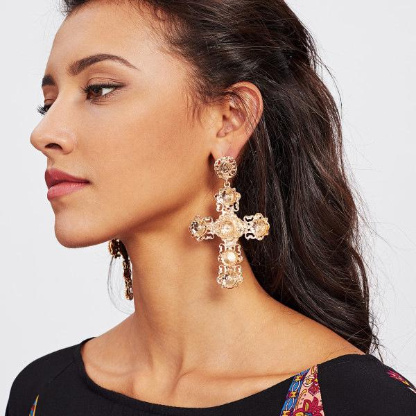 European and American fashion big foreign trade women's personality simple cross earrings earrings jewelry retail wholesale