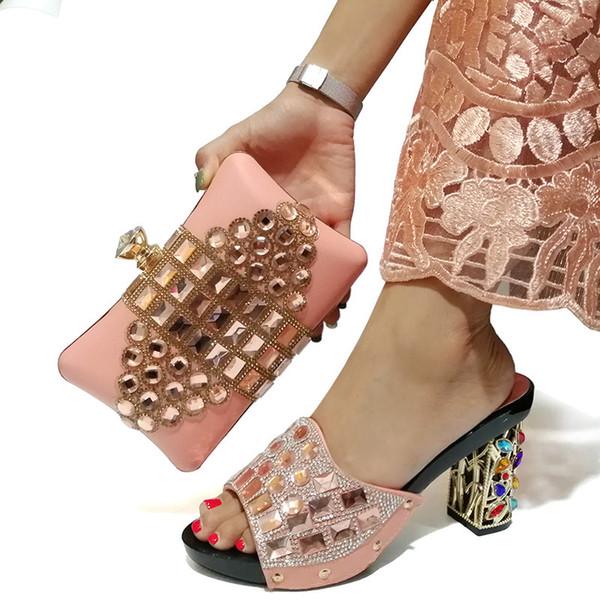 Arrivi speciali Scarpe e borse da donna italiane da abbinare a set decorati con strass e scarpe da sposa africane