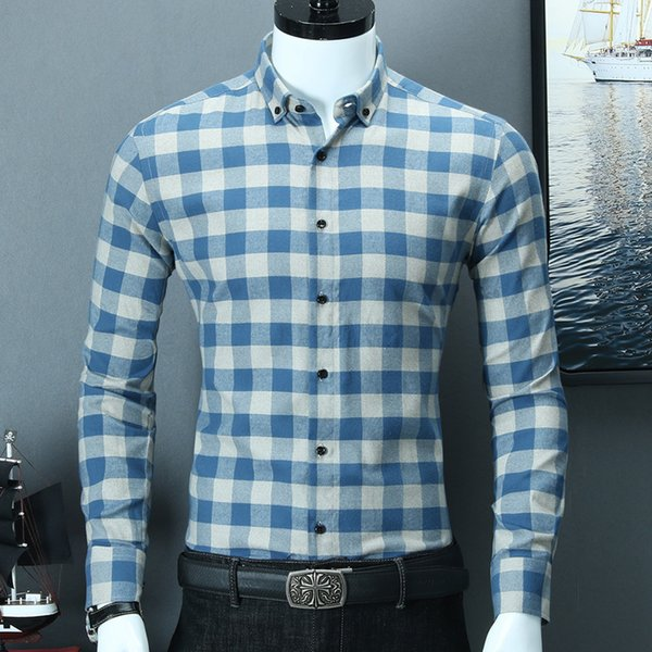 High Quality Pure Cotton Brushed Fabric Warm Comfortable Button Collar Long Sleeve Slim Fit Mens Smart Casual Plaid Shirts