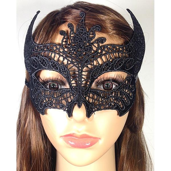 Preto Boi Chifre Máscara de Renda Reforçar Prevenir Máscara de Deformação Máscaras de Halloween Masquerade Prom Lady Mask 100 Peças DHL