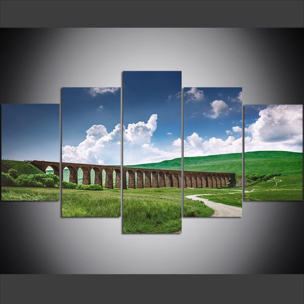 5 Piece Large Size Canvas Wall Art Pictures Creative Glenn Fennan Viaduct Art Print Oil Painting for Living Room