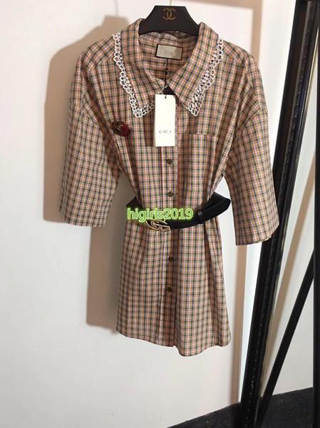 high end women girls belt shirt dress plaid crystal strawberry brooch lapels short sleeve a-line mini skirt fashion design luxury dresses