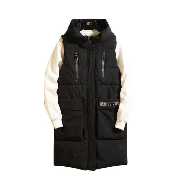 lungo piumino autunno e la moda inverno caldo casuale degli uomini gilet con cappuccio Gilet cappotto grande tasca maniche trench AM86