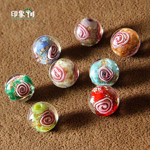 10mm Handmade Lampwork Flower Round Beads Gold Sand Loose Spacer Glass Beads Multi Color For Jewelry Making 1625