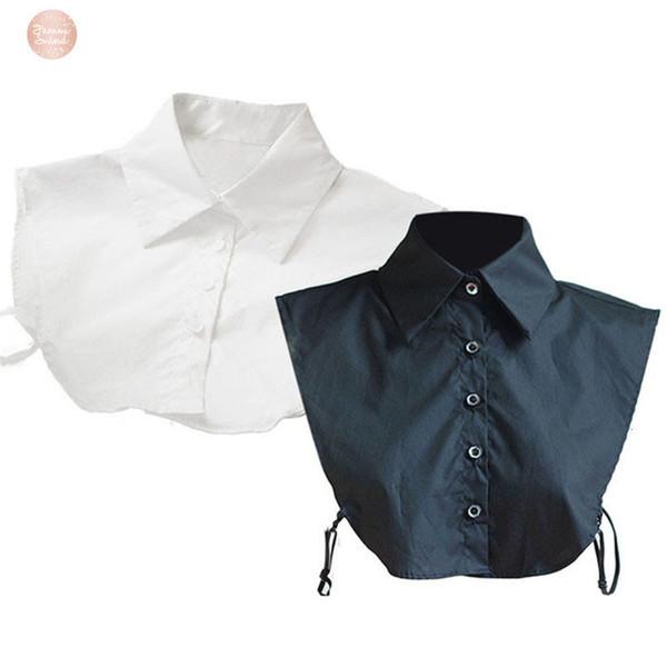Les femmes cols Baissez professionnel Ol banlieue Faux col de chemise de coton élégant Ladys uniforme Choker Lapel Junn30