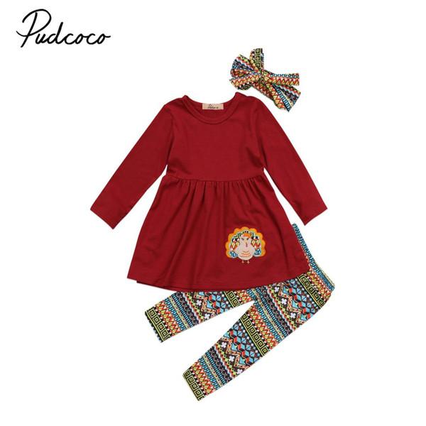 Little Girls 3 Pcs Thanksgiving Festivel Clothing Set Kids Baby Girl Outfit Dress Tops+Pants+Headband Clothes Spring Autumn