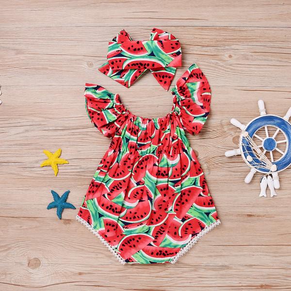 Desgaste das Crianças de Verão Manga Vermelha Melancia Imprimir Bebê One Piece Lace Manga Curta Bebê One Piece + Headband Melancia conjunto