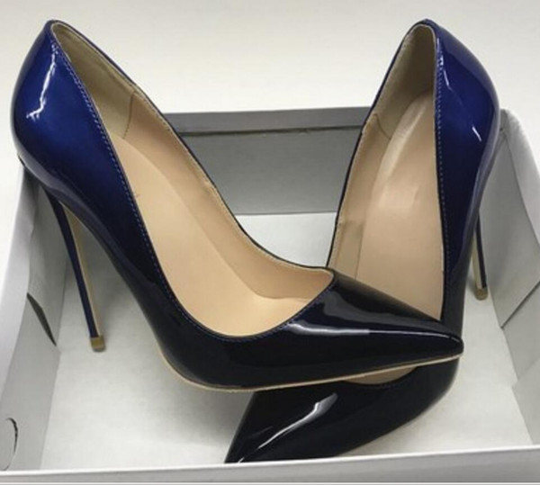 new 8cm 12cm 10cm Big code 45 Blue black Gradual change women's Red-soled High-heeled Shoes Fine-heeled pointed Patent leather single shoes
