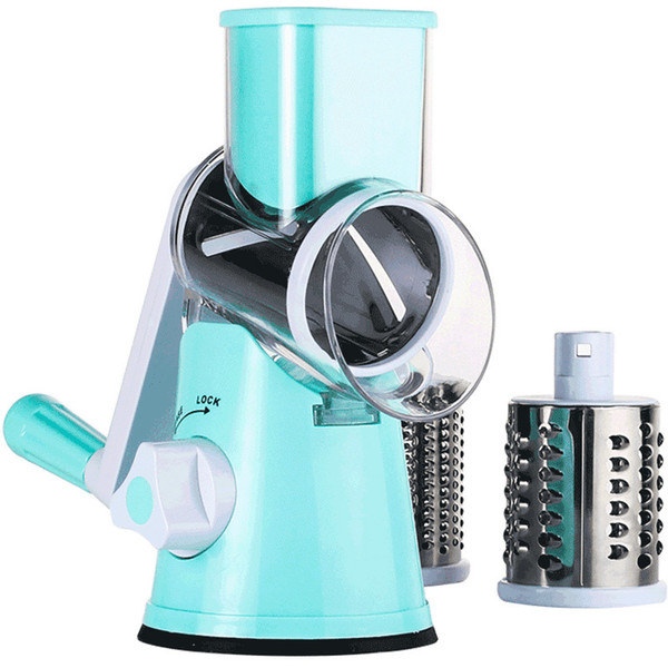 Multi-function vegetable cutter hand-operated rotary grater
