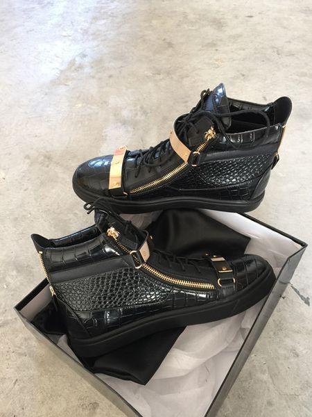 Toptan İtalyan lüks yeni tasarımcı erkek deri ayakkabı eğitmenler Erkek Sneakers GZ07 deri Splice rahat Moda düşük üst ile 7agj