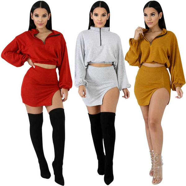 Two-piece Dress Autumn Package Hip split zipe Long-sleeved Knit 2 piece Set night club hot set NB-948