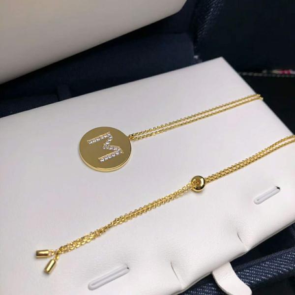 2019 nouvelle 925 sterling silver lettre série collier simple mode chandail chaîne pièce or pièce clavicule pendentif collier