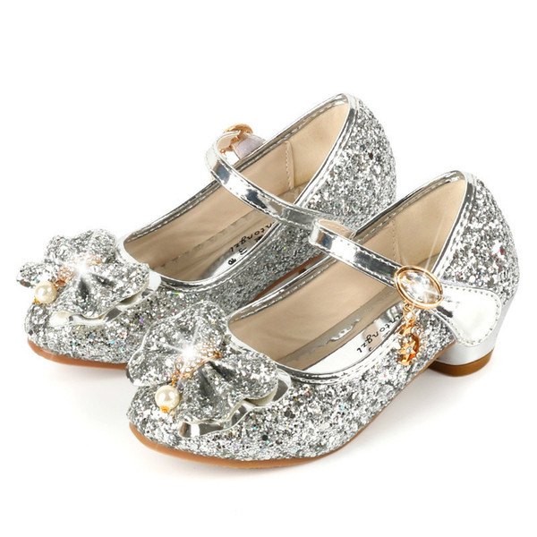 Fashion Kids Leather Shoes For Girls Flower Casual Glitter Children High Heel Girls Shoes Butterfly Knot Blue Pink Silver