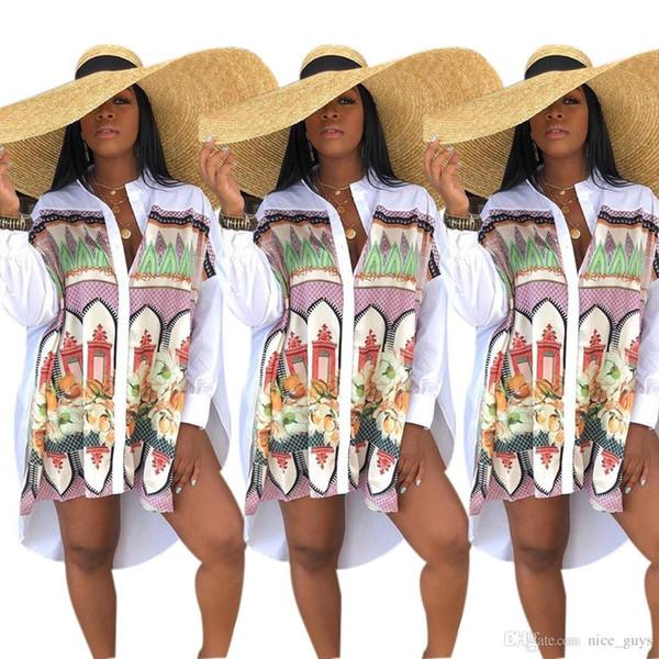Branco camisa de manga longa dress mulheres verão moda outono gola botão up blusa dress senhoras streetwear solto camisa dress