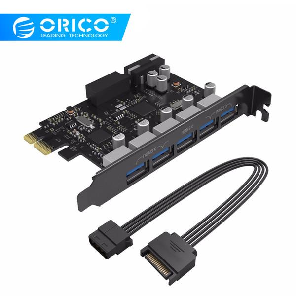 Placa de Expansão Orico PVU3-5O2I USB3.0 5-Port PCI-E com dupla Chip de alta velocidade Com 20 Pin slot-Black
