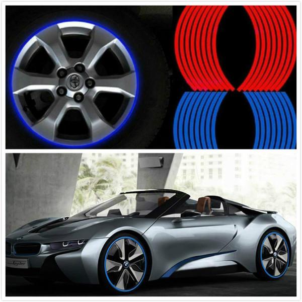 16 Pcs Strips Wheel Stickers Decals 17 pollici Nastro riflettente Rim Tape Bike Car Tape 5 colori Car Styling