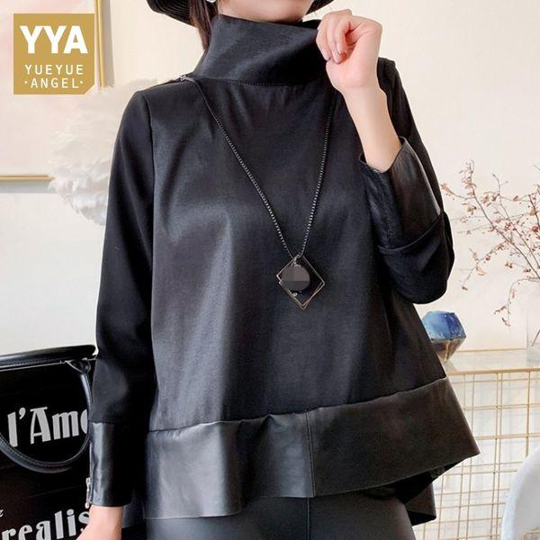 Hakiki Deri Şifon Eklenmiş Kazak Ceket Kadın Streetwear Sonbahar Siyah Gevşek Fit Koyun Uzun Kollu Kısa Coat Tops
