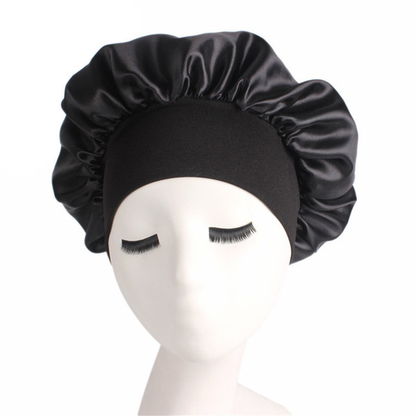 Купить со скидкой Long Hair Care Women Fashion Satin Bonnet Cap Night Sleep Hat Silk Cap Head Wrap Sleep Hat Hair Loss