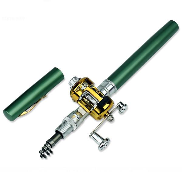 MrY Portable Pocket Mini Canna da pesca a forma di penna da pesca pieghevole con Reel Pen
