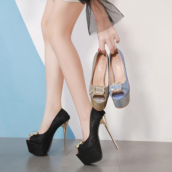 Wedding Party night club single shoes womens Shoes open toes super high Heels Shoe Platform Stilettos Heel 16 cm high quality Rhinestone