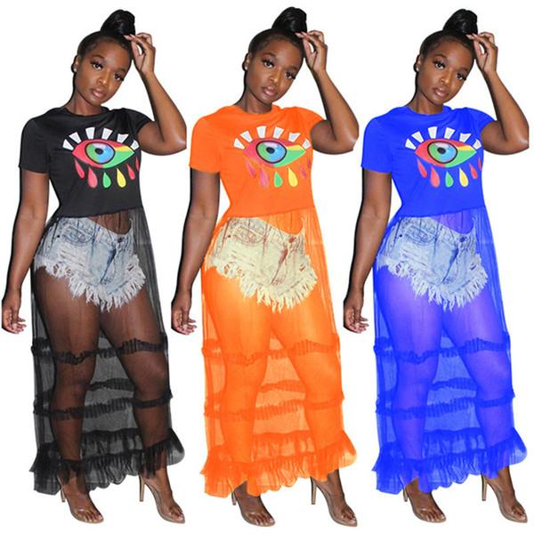 Women designer maxi dresses panelled mesh sheer pencil dresses print crew neck party dress ankle length long t-shirt summer clothing 903