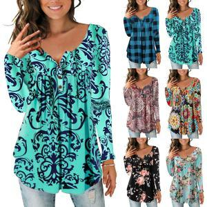 Women Floral botton T-Shirt Dress V-Neck Print Long Sleeve lady plaid loose Oversize Tee tops blouse home clothing AAA1763