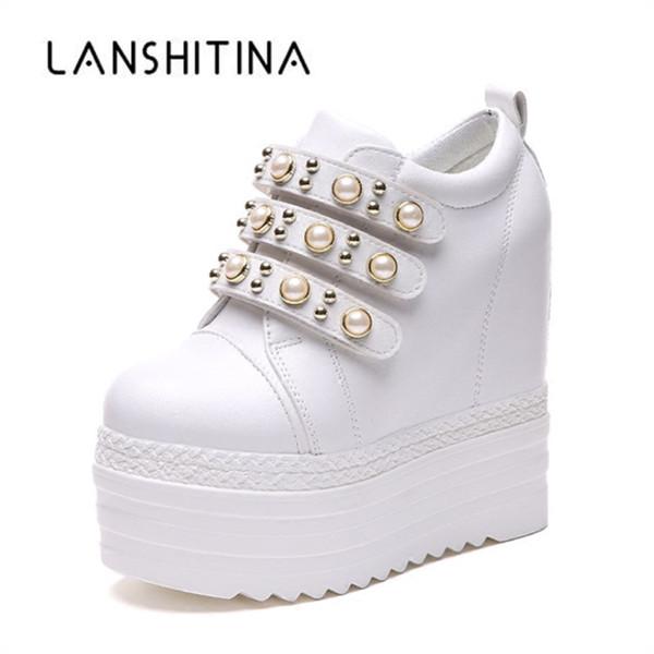 2018 Autumn Woman Botines Tacones altos Zapatos de plataforma Altura aumentada 13CM Zapatillas transpirables High Top White Casual Shoes