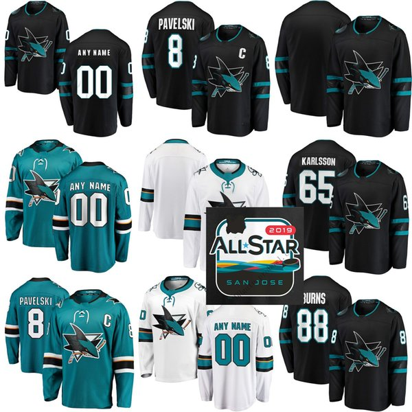 timeless design 60148 c1f1f 2019 2019 All Star Men Women Kids Custom San Jose Sharks 88 Brent Burns 8  Joe Pavelski Martin Jones 19 Thornton 39 Couture 48 Hertl Hockey Jersey  From ...