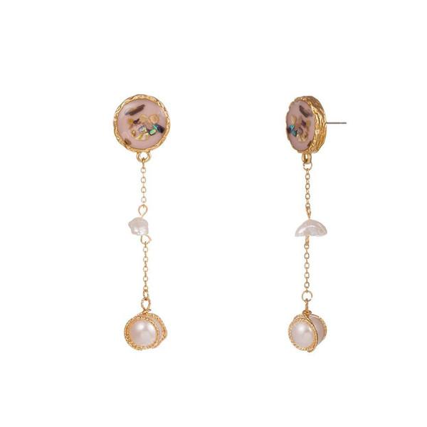Colorful Shell Orecchini d'acqua dolce naturale della perla della pietra del turchese gancio per l'orecchio oro della lega nappa lunga gocciolamento dell'olio Orecchini di perle fetta Donne
