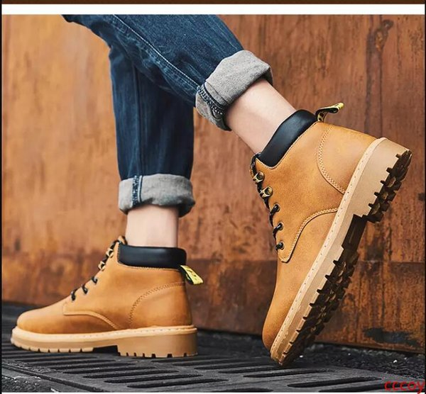 2019 new mens boots brown black khaki winter boots designer leather comfortable ankle martin boots outdoor sports shoes size 40-44 thumbnail