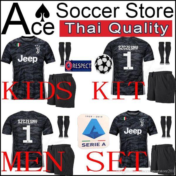 on sale b3b17 73c66 2019 New Juventus Goalkeeper Jersey Soccer Kids Kit Men 19 20 Black 1  SZCZESNY Adult Kit 2019 2020 Boy Football Shirt Child Shorts +Socks From ...