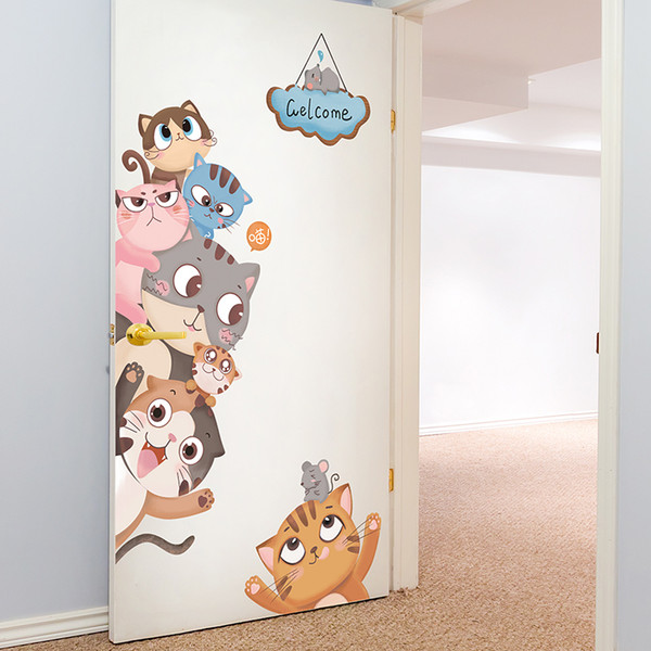 SHIJUEHEZI] Cats Stickers for Kids Room Baby Bedroom Living Room Door Decoration DIY Animals Wall Decals Accessories [SHIJUEHEZI] Cats W...