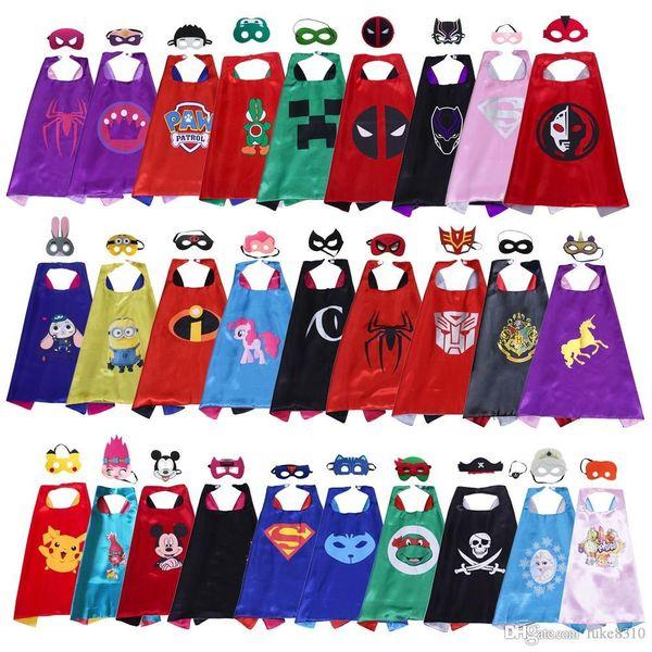 70 * 70 cm Maschera Cape supereroe a doppio strato per bambini bambino Top Quality 102 stili cartoon Halloween costumi da supereroe cosplay film per bambini