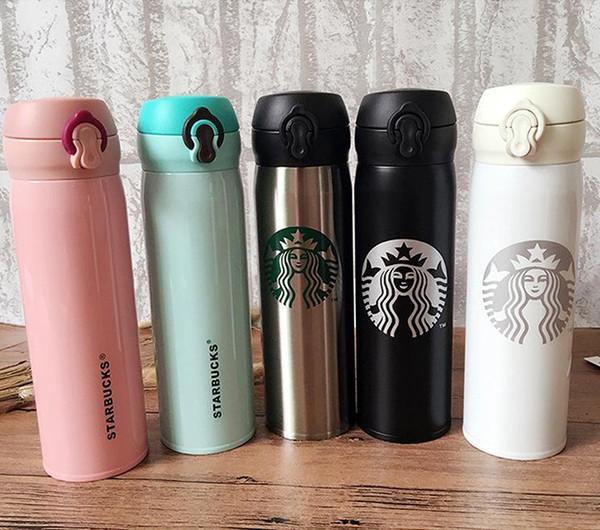500 ml Starbucks Çift Duvar Paslanmaz Çelik Su Şişesi Taşınabilir Bardak Kahve Su Bardağı Yalıtımlı Otomobil Bira Kupalar Kahve Kupa Seyahat Şişe