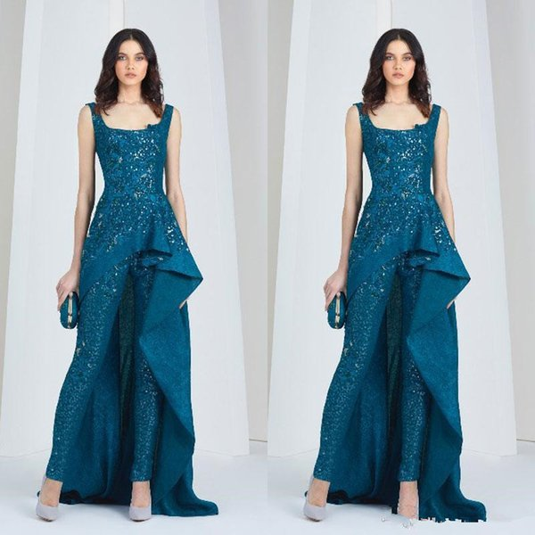 New Tony Ward Jumpsuits Arabic Evening Dresses Scoop Neck Pantsuit Plus Size Sequined Prom Gowns Full Lace Beads Formal Party Dress