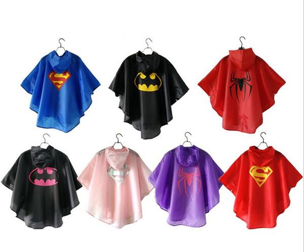 7 stili New Kids Rain Coat bambini Raincoat Rainwear Rainsuit Kids impermeabile Supereroe impermeabile di alta qualità libera nave