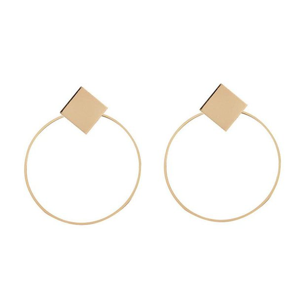 New Fashion Statement Earring Punk Style Silver Gold Color Square Round Circle Dangle Earrings For Women Girls Retro Jewelry