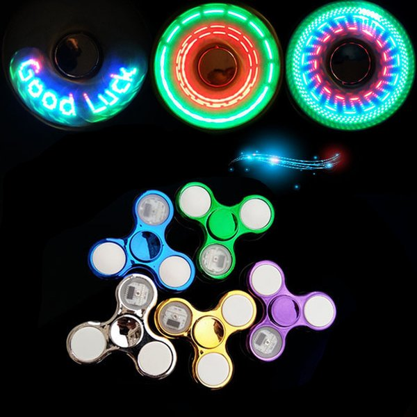 Newest LED Finger Fidget Spinner Hand Toys Anti Anxiety Triple Spinners 9 LED Lights Design With Switch Spinning 6 Colors Wholesale