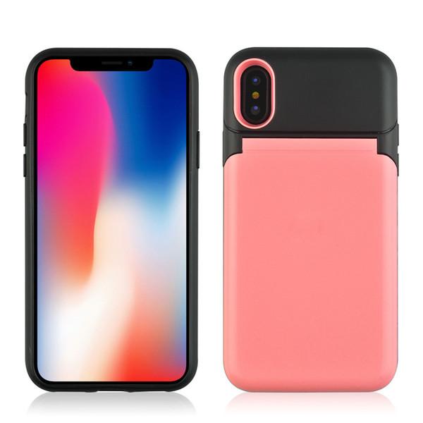 Lujo Flip Girls Mirror Cajas del teléfono Titular de la tarjeta de crédito Maquillaje Contraportada 3 en 1 Protector para iPhone X X 7 7 Samsung S9 S8 Note8