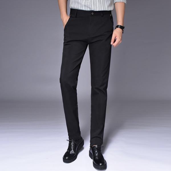 Novos Homens Terno Preto Calças Slim Confortável Elegante Calças Masculinas Tamanho 28-38 Pure Color Men Office