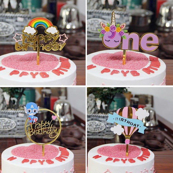 top popular Cake Letter Card Insert Pole Acrylic Happy Birthday Cake Topper Hot Stamping Party DIY Decoration Cake Supplies Drop Ship 2021