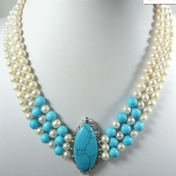 necklace Beautiful 3 Rows Blue jade White Pearl Crystal Turquoise Pendant Necklace JGJF48787TT