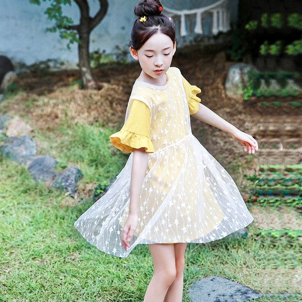 Girls dress new 2019 big children Korean version of the summer lace cotton children's long T-shirt two-piece
