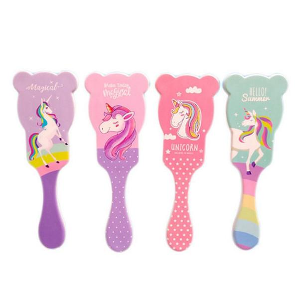 Sevimli Unicorn Hayvan Anti-statik Saç Fırçası Masaj Tarak Duş Islak detangle Saç Fırçası Salon Styling Araçları Dört Renkler