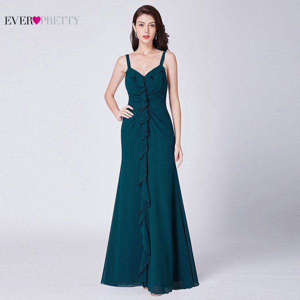 Long Prom Dresses 2019 Pretty Sexy Chiffon A-line Sleeveless Mermaid Cheap Wedding Guest Gowns Teal Robe De Gala T190606