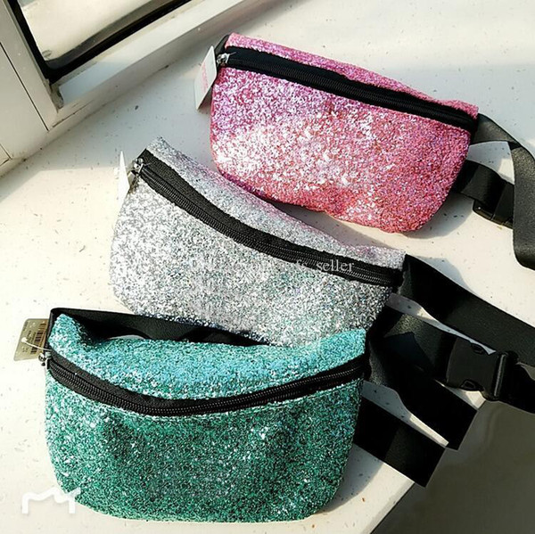 top popular Pink Fanny Pack Bling Shine Belt Bag Irredescent Glitter Sparkle Waist Pack Bag Crossbody Backpack for Women Grils Party 2020
